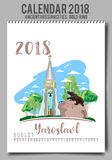 Idérik kalender 2018 med - den plana kulöra illustrationen, mall vektor illustrationer