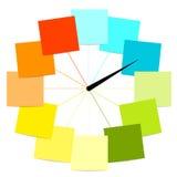 Idérik klockadesign med etiketter Arkivbild