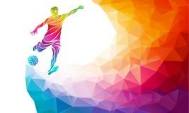 Idérik kontur av fotbollspelaren Fotbollsspelaren sparkar bollen i moderiktig abstrakt färgrik polygonregnbågebaksida Royaltyfri Bild