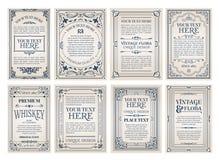 Idérik kortmall för tappning med den härliga krusidullprydnaden royaltyfri illustrationer