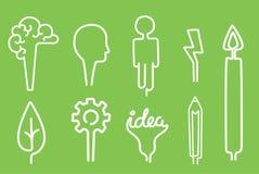 Idérik lösning för inspiration för begrepp för energi för fastställt symbol för illustration för vektor för kläckning av ideer fö Arkivbilder
