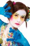 idérik målad kvinna för konsthuvuddel Arkivbilder