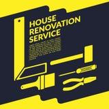 Idérik mall för design för logo för guling för husrenoveringservice royaltyfri illustrationer