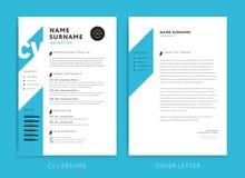 Idérik minimalist för färg för bakgrund för CV-/meritförteckningmallblått V stock illustrationer