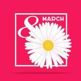 Idérik minimalistic design för internationell dag för kvinna` s på 8th marsch med nummer 8 och tulpansymbol på röd bakgrund stock illustrationer