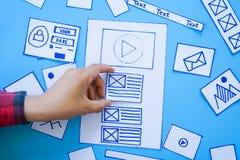 Idérik mobil svars- websiteformgivare som sorterar wireframeskärmar av den mobila prototypen för applikationprocessutveckling arkivfoton