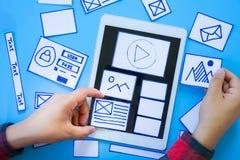 Idérik mobil svars- websiteformgivare som sorterar wireframeskärmar av den mobila prototypen för applikationprocessutveckling royaltyfria foton