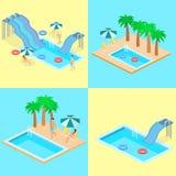 Idérik modern isometrisk design av simbassängen Arkivfoto