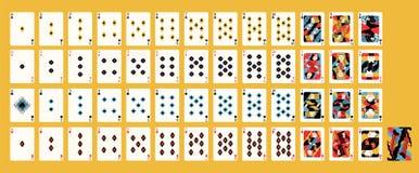 Idérik modern konstnärlig design av det klassiska franska däcket av spela kort med traditionella dräkter för kasinolek royaltyfri illustrationer