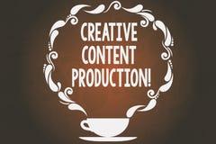 Idérik nöjd produktion för ordhandstiltext Affärsidé för framkallning och att skapa av den visuella eller skriftliga tillgångkopp royaltyfri illustrationer