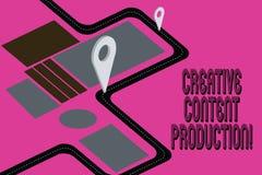 Idérik nöjd produktion för ordhandstiltext Affärsidé för framkallning och att skapa av visuella eller skriftliga tillgångar royaltyfri illustrationer