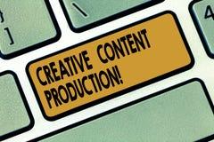 Idérik nöjd produktion för ordhandstiltext Affärsidé för framkallning och att skapa av visuella eller skriftliga tillgångar royaltyfria foton