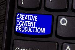 Idérik nöjd produktion för ordhandstiltext Affärsidé för framkallning och att skapa av visuella eller skriftliga tillgångar royaltyfri bild