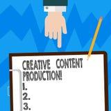 Idérik nöjd produktion för ordhandstiltext Affärsidé för framkallning och att skapa av visuella eller skriftliga tillgångar Hu royaltyfri illustrationer