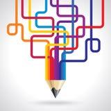 Idérik och färgglad blyertspennaidé royaltyfri illustrationer