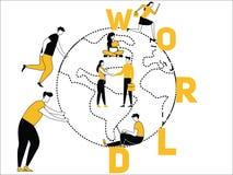 Idérik ordbegreppsvärld och folk som gör saker vektor illustrationer