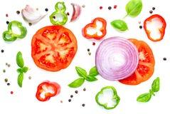 Idérik orientering med isolaten för nya grönsaker, ört- och krydda arkivbilder