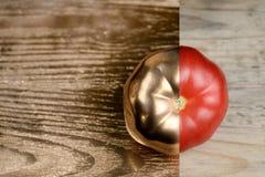 Idérik orientering som göras av tomaten Guld- målarfärg och naturligt olivgrön för olja för kök för kockbegreppsmat ny över hälla royaltyfria bilder