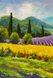 Idérik process för konst Konstnären skapar italiensk sommarbygd för målning tuscany Fält av röda vallmo, ett fält av gul råg Rur Royaltyfri Fotografi