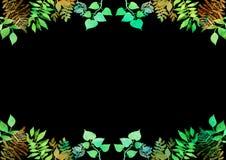 Idérik ram för design av affischen, baner, kort Vibrerande hand målade växt- beståndsdelar för vattenfärg green leaves Botanisk d arkivfoto