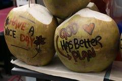 Idérik slogangarnering på en kokosnöt royaltyfri bild