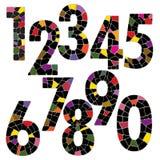 Idérik stil för stilsort för tegelstennummeralfabet vektor illustrationer