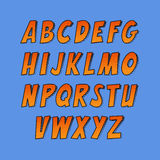 Idérik stilsort Uppsättning för vektoralfabetsamling i stilen av komiker och popkonst Arkivfoton