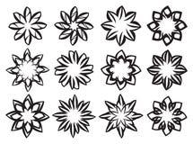 Idérik svartvit beståndsdel för blom- design Royaltyfri Fotografi