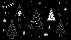 Idérik svartvit kontur av julgranen i ett modernt konturutförande arkivfoton