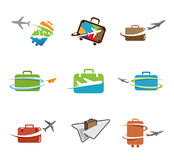 Idérik symbolisk design för resande påsar Arkivbilder