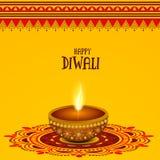 Idérik tänd lampa för lycklig Diwali beröm royaltyfri illustrationer