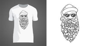 Idérik t-skjorta design med illustrationen av jultomten i solglasögon med det stora skägget Märka glad jul i form av vektor illustrationer