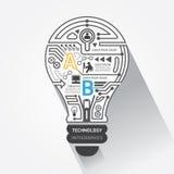 Idérik teknologi för lightbulbabstrakt begreppströmkrets inf Arkivbilder
