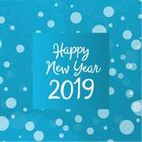 Idérik textdesign för lyckligt nytt år 2019 med vinterorienteringen med snöflingor i blåa färger Vektormall för din design vektor illustrationer