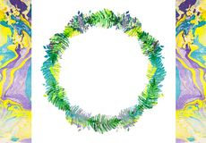 Idérik textur för design med kransen Vibrerande hand målad vattenfärgbakgrund Handgjord samkopiering Dekorativ färgrik textur royaltyfria bilder