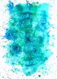 Idérik textur för design Vibrerande hand målad vattenfärgbakgrund Handgjord samkopiering Dekorativt färgrikt texturerat papper ha royaltyfria bilder