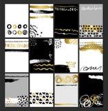 Idérik uppsättning för kort för modeglamour hand dragen Vektorsamlingen av svart, vit, guld texturerade kort Härliga affischer royaltyfri illustrationer