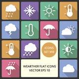 Idérik uppsättning för symbol för begreppsvektorlägenhet av väderbeståndsdelar för rengöringsduk- och mobilapplikationer Idérik v Arkivfoto