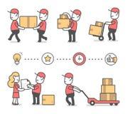 Idérik uppsättning för vektor av illustrationen av den lyckliga mannen för leverans i rött arkivbild