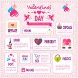 Idérik valentindagInfographic uppsättning av beståndsdelsymboler över rosa bakgrund, romantisk för informationsdiagram om ferie s stock illustrationer