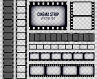 Idérik vektorillustration av den gamla retro uppsättningen för filmremsaram som isoleras på genomskinlig bakgrund Filmstri för bi vektor illustrationer