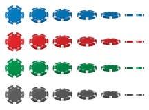 Idérik vektorillustration av isolerade chiper för uppsättningkasinopoker i olik vinkelposition för flip på genomskinlig bakgrund  royaltyfri illustrationer