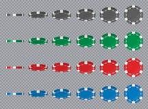 Idérik vektorillustration av isolerade chiper för uppsättningkasinopoker i olik vinkelposition för flip på genomskinligt royaltyfri illustrationer