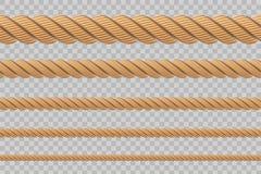 Idérik vektorillustration av realistiska nautiska vridna repfnuren, öglor för garnering och beläggning som isoleras på genomskinl royaltyfri illustrationer
