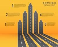 Idérik vektorillustration av vägöversikten för pil 3D Infographic konstdesignaffär och resa Abstrakt begrepp royaltyfri illustrationer