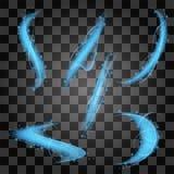 Idérik vektoruppsättning av glödande objekt Arkivfoton