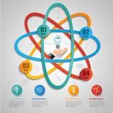 Idérik vetenskapssymbolmall för infographic alternativ för vektor 4 stock illustrationer