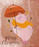 Idérik vykort för nytt 2019 år med det gulliga svinet Begrepp vertikal redigerbar mall för vektor Symbol av året i kinesen c royaltyfri illustrationer