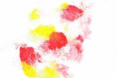Idérika abstrakta röda och gula fläckar för målning, Arkivfoto