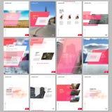 Idérika broschyrmallar med geometrisk bakgrund för färgrik lutning Röd kulör design Räkningar planlägger mallar för royaltyfri illustrationer